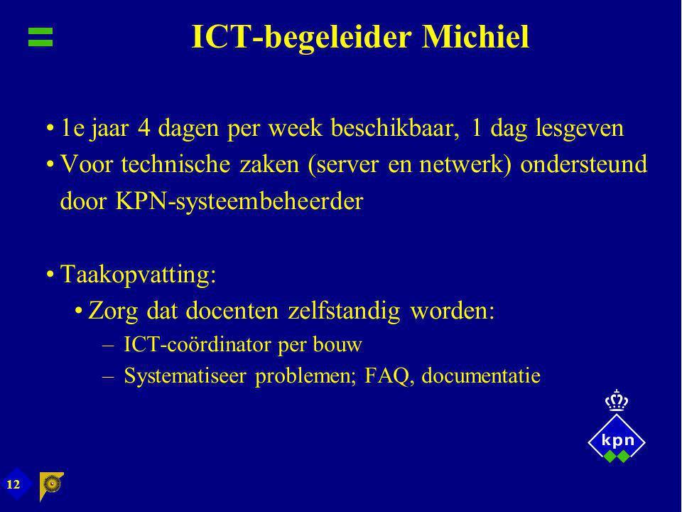 12 ICT-begeleider Michiel 1e jaar 4 dagen per week beschikbaar, 1 dag lesgeven Voor technische zaken (server en netwerk) ondersteund door KPN-systeemb