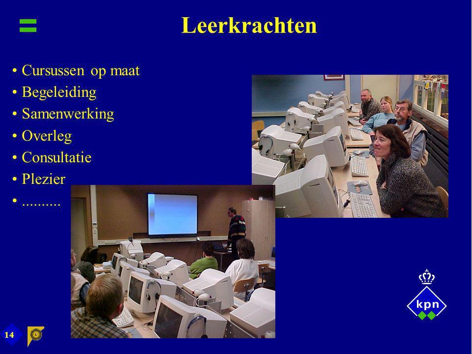 14 Leerkrachten Cursussen op maat Begeleiding Samenwerking Overleg Consultatie Plezier..........