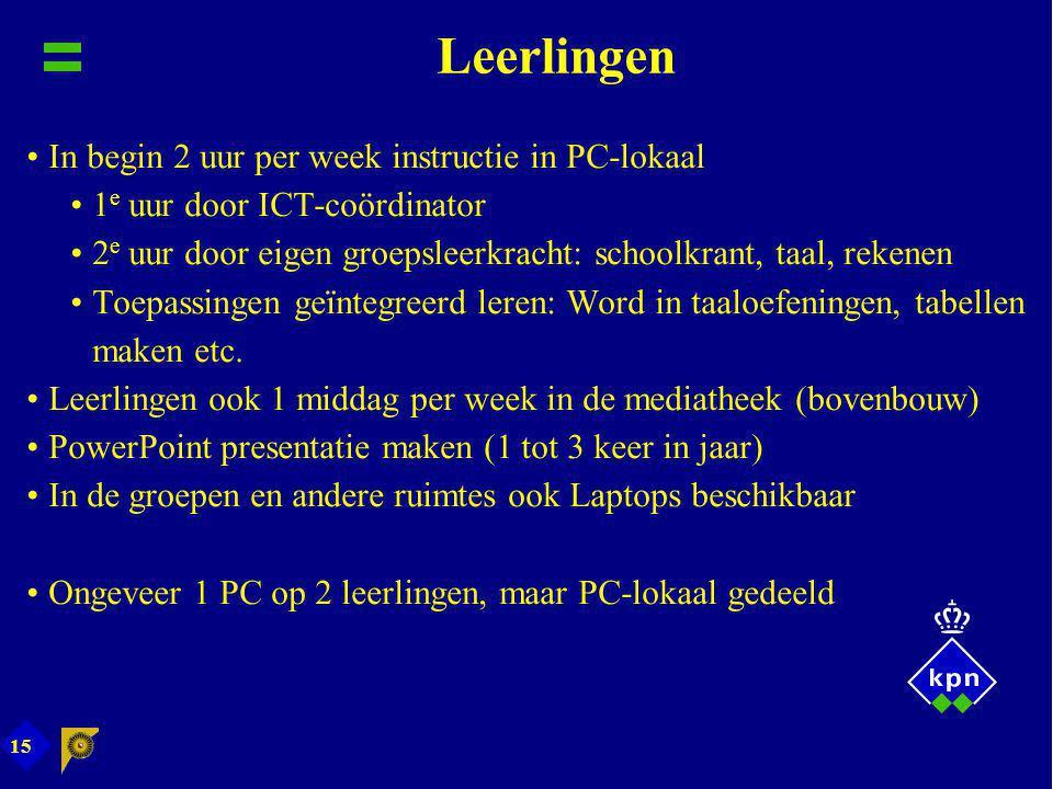 15 Leerlingen In begin 2 uur per week instructie in PC-lokaal 1 e uur door ICT-coördinator 2 e uur door eigen groepsleerkracht: schoolkrant, taal, rek