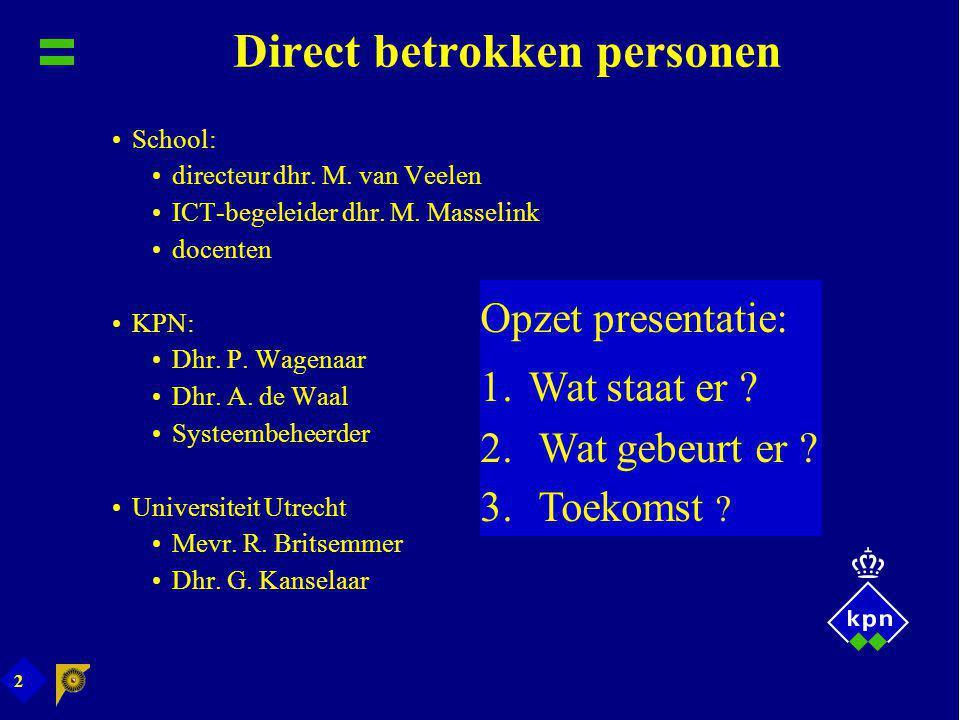 2 Direct betrokken personen School: directeur dhr. M. van Veelen ICT-begeleider dhr. M. Masselink docenten KPN: Dhr. P. Wagenaar Dhr. A. de Waal Syste