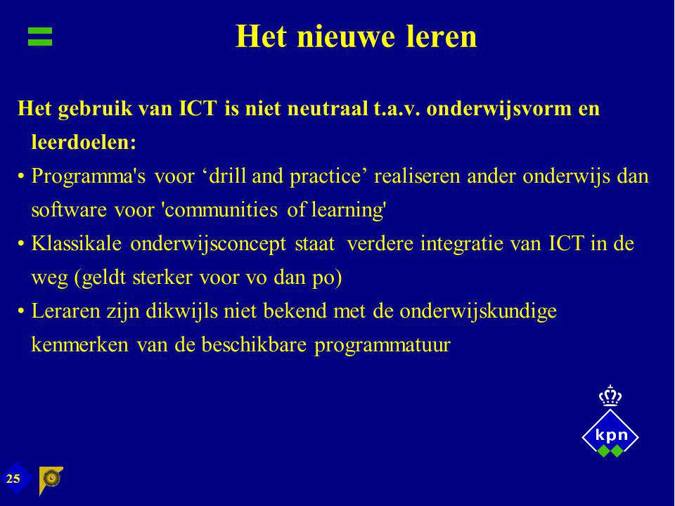 25 Het nieuwe leren Het gebruik van ICT is niet neutraal t.a.v. onderwijsvorm en leerdoelen: Programma's voor 'drill and practice' realiseren ander on