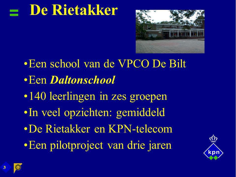 3 De Rietakker Een school van de VPCO De Bilt Een Daltonschool 140 leerlingen in zes groepen In veel opzichten: gemiddeld De Rietakker en KPN-telecom