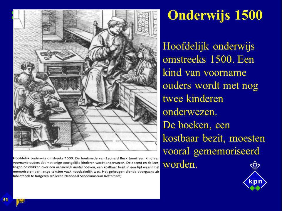 31 Onderwijs 1500 Hoofdelijk onderwijs omstreeks 1500. Een kind van voorname ouders wordt met nog twee kinderen onderwezen. De boeken, een kostbaar be
