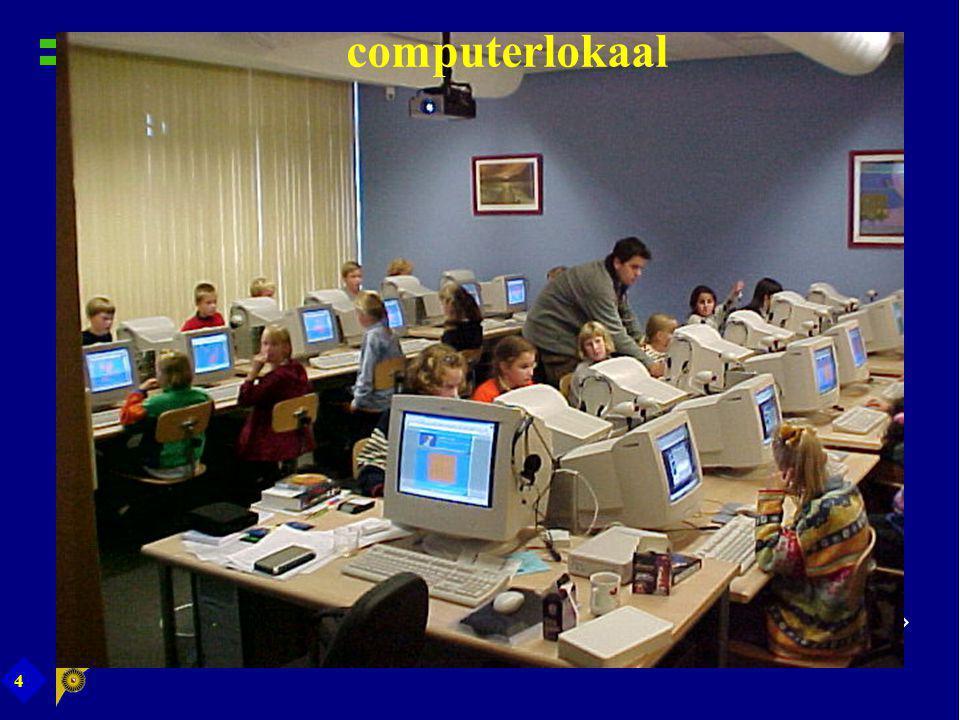 15 Leerlingen In begin 2 uur per week instructie in PC-lokaal 1 e uur door ICT-coördinator 2 e uur door eigen groepsleerkracht: schoolkrant, taal, rekenen Toepassingen geïntegreerd leren: Word in taaloefeningen, tabellen maken etc.