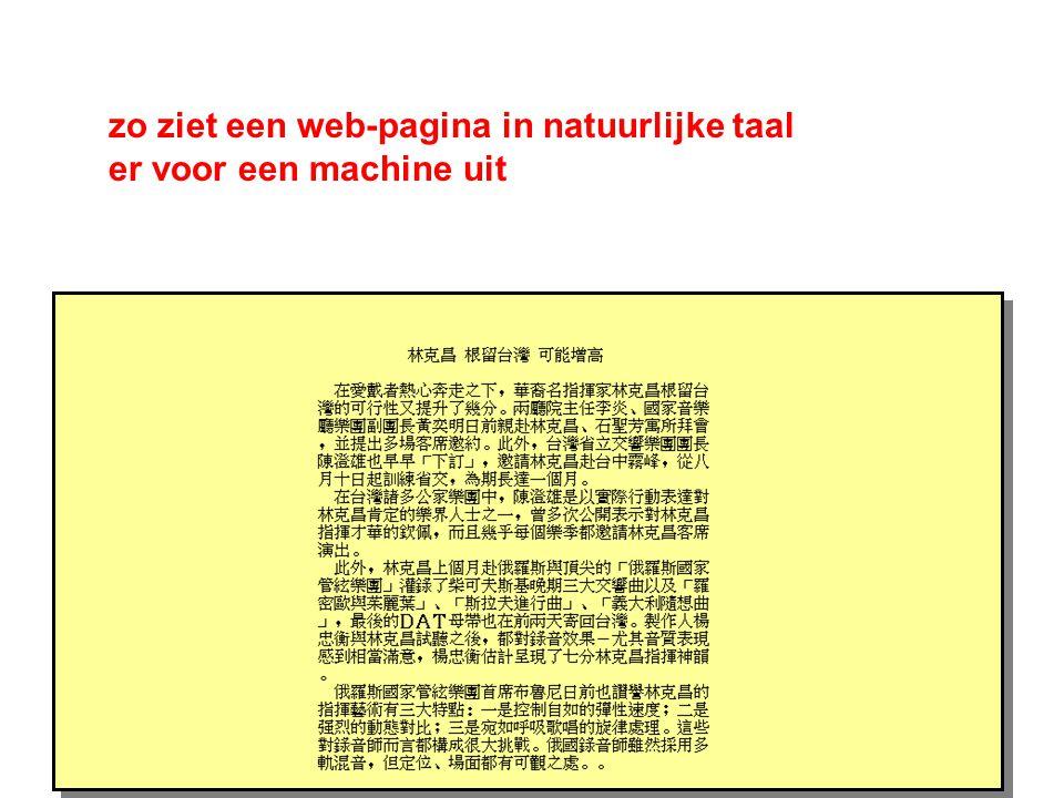 zo ziet een web-pagina in natuurlijke taal er voor een machine uit