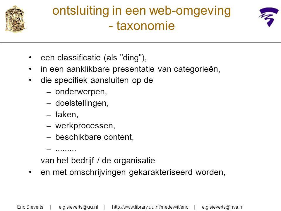 ontsluiting in een web-omgeving - taxonomie een classificatie (als