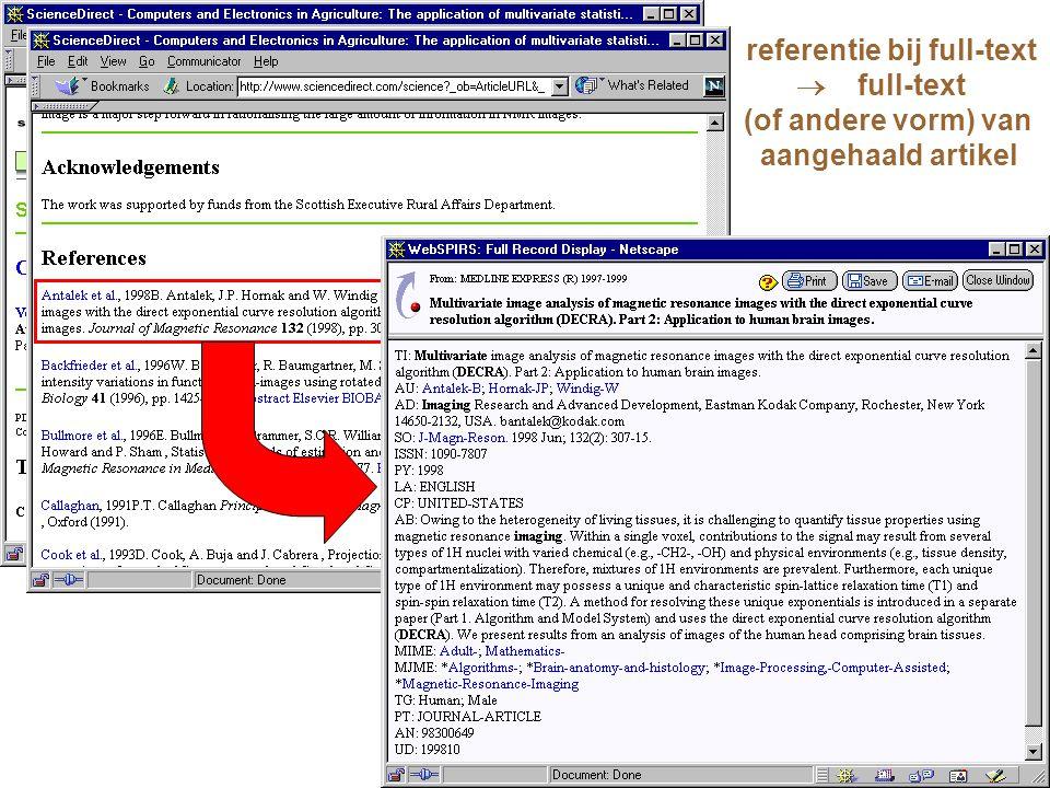 referentie bij full-text  full-text (of andere vorm) van aangehaald artikel