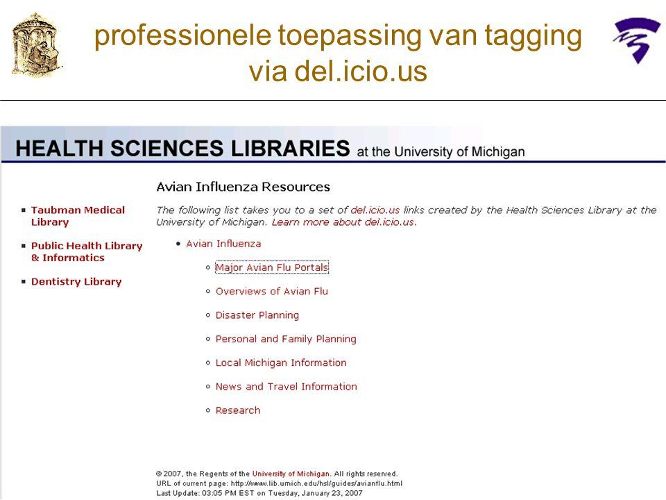 professionele toepassing van tagging via del.icio.us