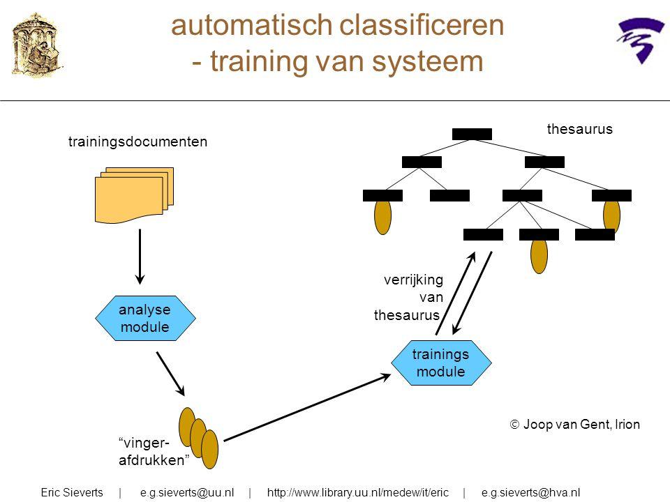 automatisch classificeren - training van systeem Eric Sieverts | e.g.sieverts@uu.nl | http://www.library.uu.nl/medew/it/eric | e.g.sieverts@hva.nl the