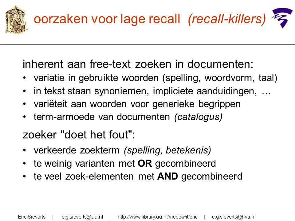 oorzaken voor lage recall (recall-killers) inherent aan free-text zoeken in documenten: variatie in gebruikte woorden (spelling, woordvorm, taal) in t