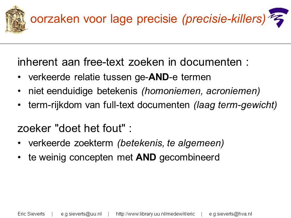 oorzaken voor lage precisie (precisie-killers) inherent aan free-text zoeken in documenten : verkeerde relatie tussen ge-AND-e termen niet eenduidige