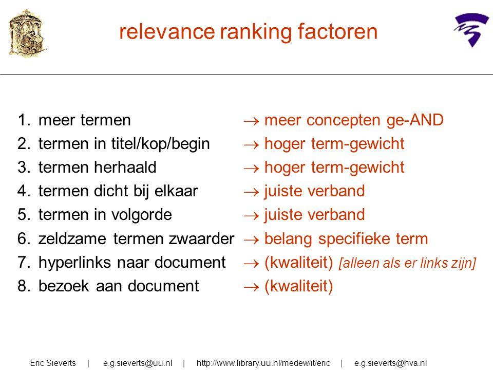 relevance ranking factoren Eric Sieverts | e.g.sieverts@uu.nl | http://www.library.uu.nl/medew/it/eric | e.g.sieverts@hva.nl 1.meer termen 2.termen in