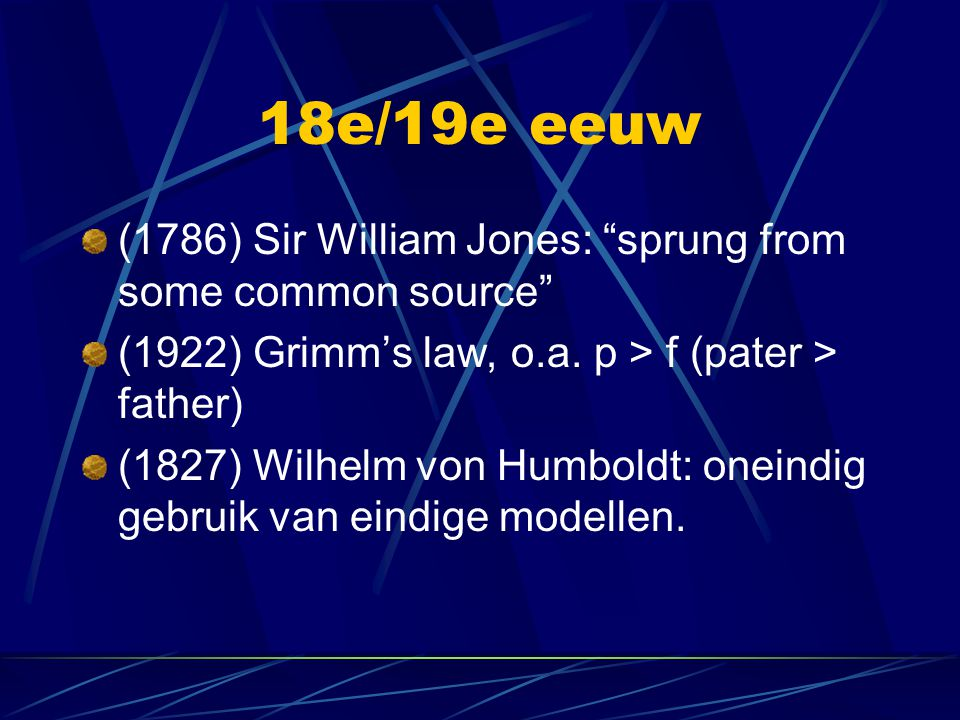 "18e/19e eeuw (1786) Sir William Jones: ""sprung from some common source"" (1922) Grimm's law, o.a. p > f (pater > father) (1827) Wilhelm von Humboldt: o"