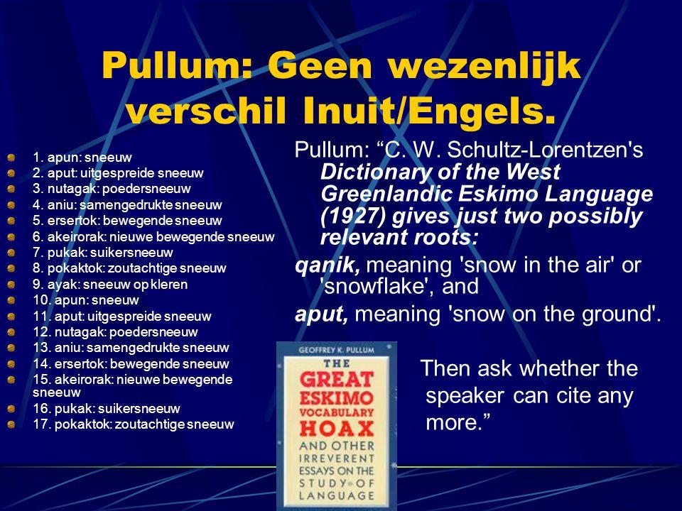Pullum: Geen wezenlijk verschil Inuit/Engels. 1. apun: sneeuw 2. aput: uitgespreide sneeuw 3. nutagak: poedersneeuw 4. aniu: samengedrukte sneeuw 5. e