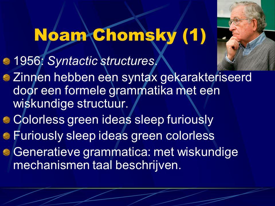 Noam Chomsky (1) 1956: Syntactic structures. Zinnen hebben een syntax gekarakteriseerd door een formele grammatika met een wiskundige structuur. Color