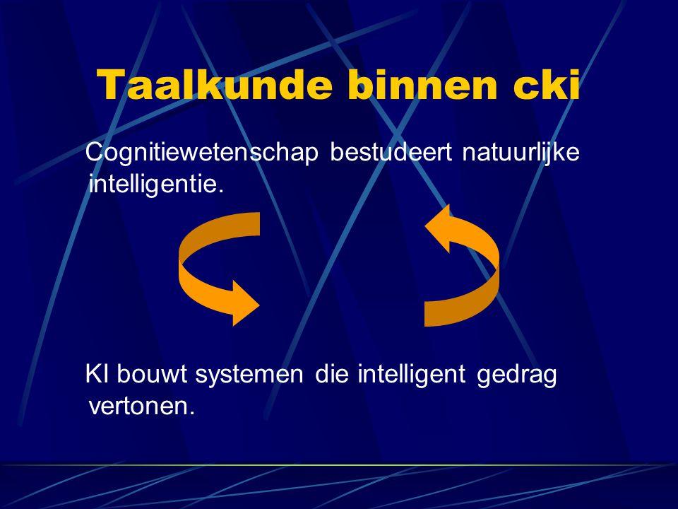 Taalkunde binnen cki Cognitiewetenschap bestudeert natuurlijke intelligentie.
