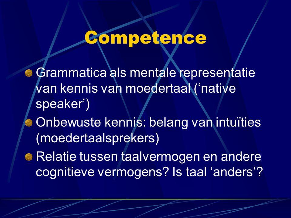 Competence Grammatica als mentale representatie van kennis van moedertaal ('native speaker') Onbewuste kennis: belang van intuïties (moedertaalsprekers) Relatie tussen taalvermogen en andere cognitieve vermogens.