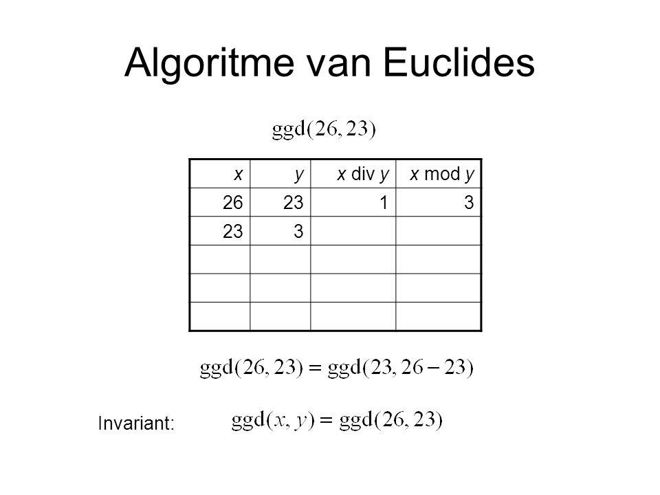 Algoritme van Euclides xyx div yx mod y 262313 372 3211 2120 10