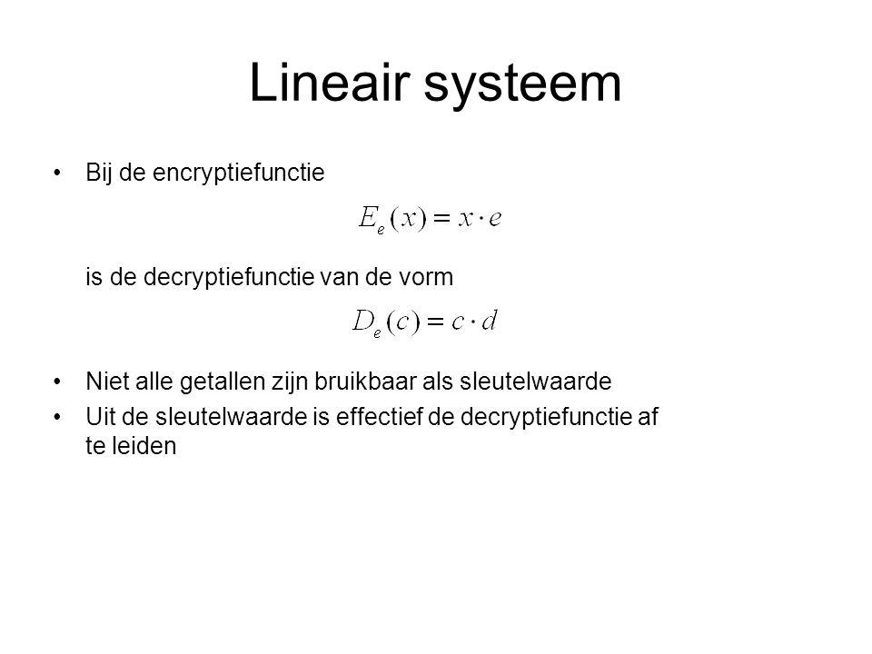 Exponentieel systeem Voorbeeld: D = 3 → 243 → 243 – 9 x 26 = 9 = J Opgave: versleutel de boodschap KERKRADE Verhef elk symbool tot een vaste macht.