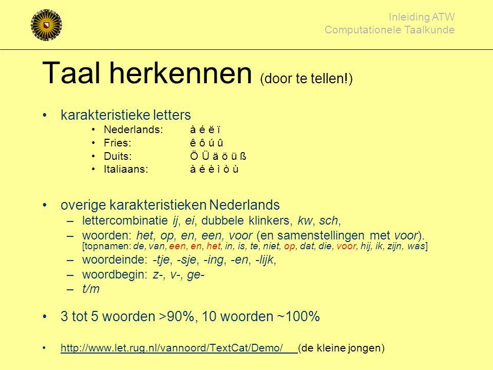 Inleiding ATW Computationele Taalkunde Taal herkennen (kenmerken van een taal) Jan van Wageningen Dieter Schlierensauer Ioannis Archontakis Mohammed O