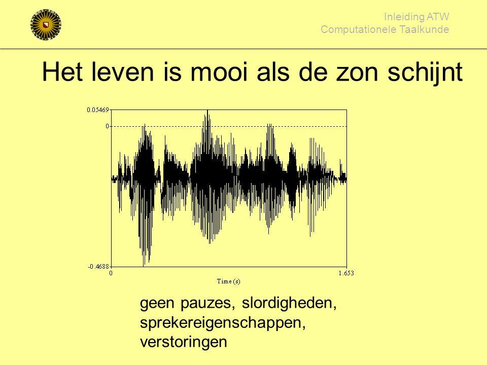 Inleiding ATW Computationele Taalkunde Spraakherkenning onbekende spraak vergelijken met in het geheugen opgeslagen 'modellen' spraakklank woord probl