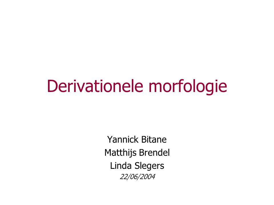 Derivationele morfologie Yannick Bitane Matthijs Brendel Linda Slegers 22/06/2004