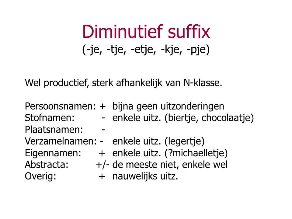 Diminutief suffix (-je, -tje, -etje, -kje, -pje) Wel productief, sterk afhankelijk van N-klasse. Persoonsnamen: +bijna geen uitzonderingen Stofnamen: