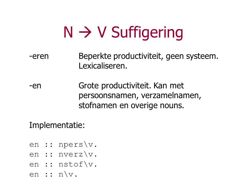 N  V Suffigering -erenBeperkte productiviteit, geen systeem. Lexicaliseren. -enGrote productiviteit. Kan met persoonsnamen, verzamelnamen, stofnamen
