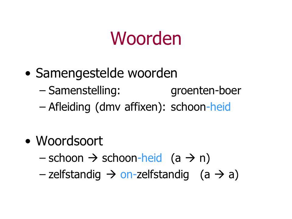 Woorden Samengestelde woorden –Samenstelling:groenten-boer –Afleiding (dmv affixen):schoon-heid Woordsoort –schoon  schoon-heid(a  n) –zelfstandig 