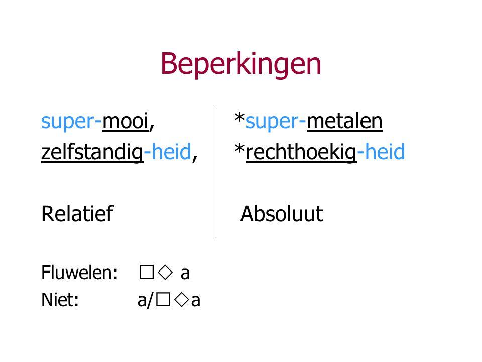 Beperkingen super-mooi,*super-metalen zelfstandig-heid,*rechthoekig-heid Relatief Absoluut Fluwelen:   a Niet: a/  a