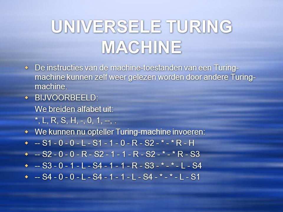 UNIVERSELE TURING MACHINE  De instructies van de machine-toestanden van een Turing- machine kunnen zelf weer gelezen worden door andere Turing- machi