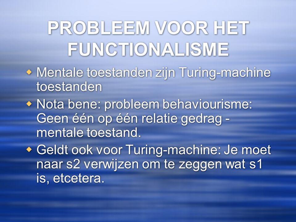 PROBLEEM VOOR HET FUNCTIONALISME  Mentale toestanden zijn Turing-machine toestanden  Nota bene: probleem behaviourisme: Geen één op één relatie gedr