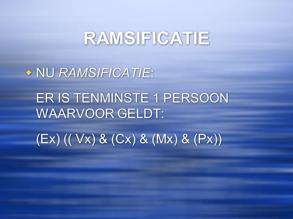 RAMSIFICATIE  NU RAMSIFICATIE: ER IS TENMINSTE 1 PERSOON WAARVOOR GELDT: (Ex) (( Vx) & (Cx) & (Mx) & (Px))  NU RAMSIFICATIE: ER IS TENMINSTE 1 PERSO