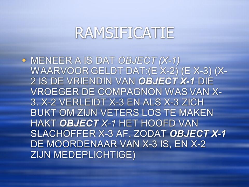 RAMSIFICATIE  MENEER A IS DAT OBJECT (X-1) WAARVOOR GELDT DAT:(E X-2) (E X-3) (X- 2 IS DE VRIENDIN VAN OBJECT X-1 DIE VROEGER DE COMPAGNON WAS VAN X-