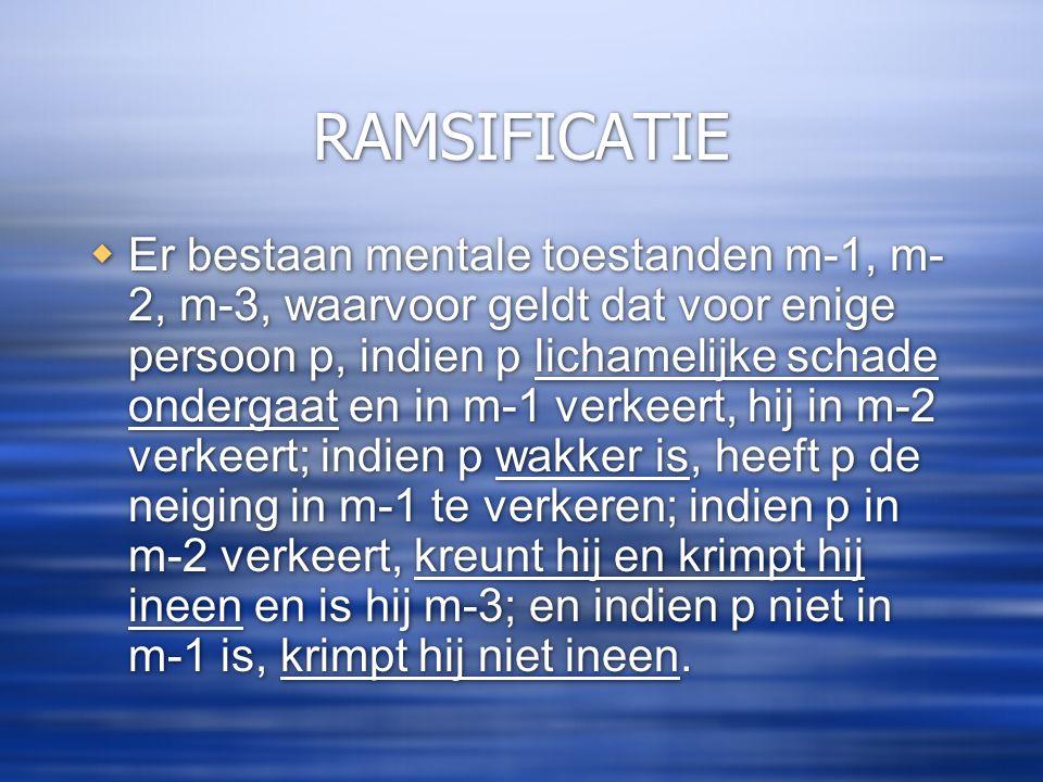RAMSIFICATIE  Er bestaan mentale toestanden m-1, m- 2, m-3, waarvoor geldt dat voor enige persoon p, indien p lichamelijke schade ondergaat en in m-1