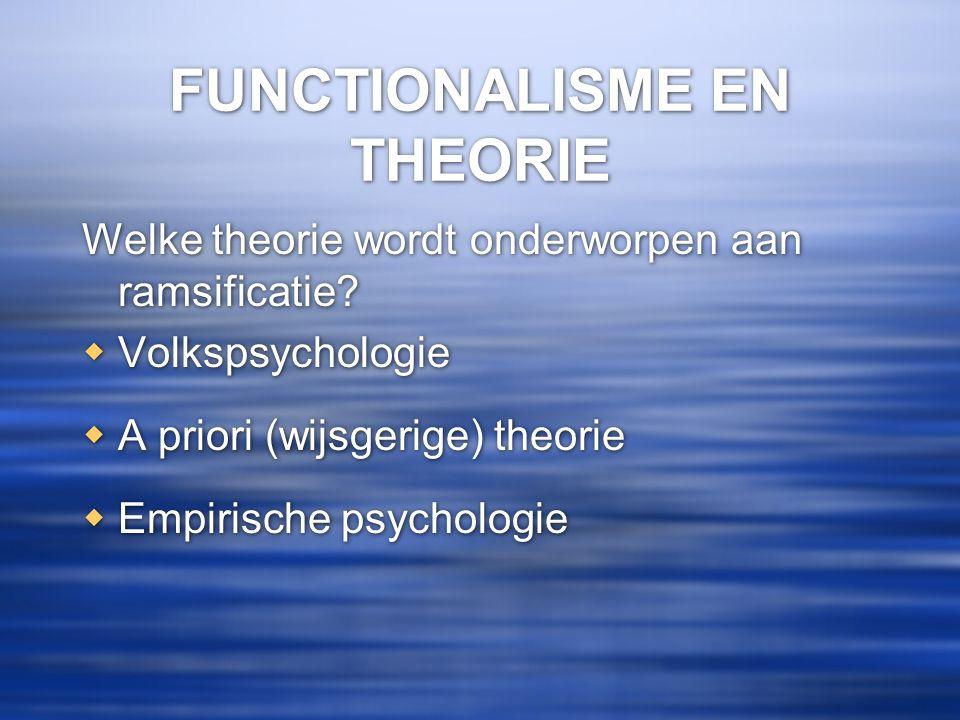 FUNCTIONALISME EN THEORIE Welke theorie wordt onderworpen aan ramsificatie?  Volkspsychologie  A priori (wijsgerige) theorie  Empirische psychologi