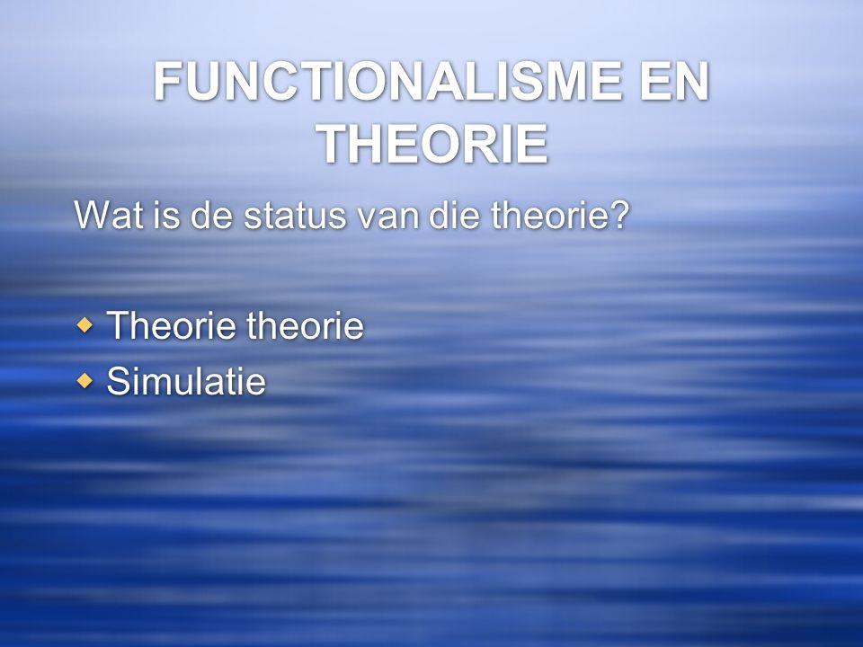 FUNCTIONALISME EN THEORIE Wat is de status van die theorie?  Theorie theorie  Simulatie Wat is de status van die theorie?  Theorie theorie  Simula