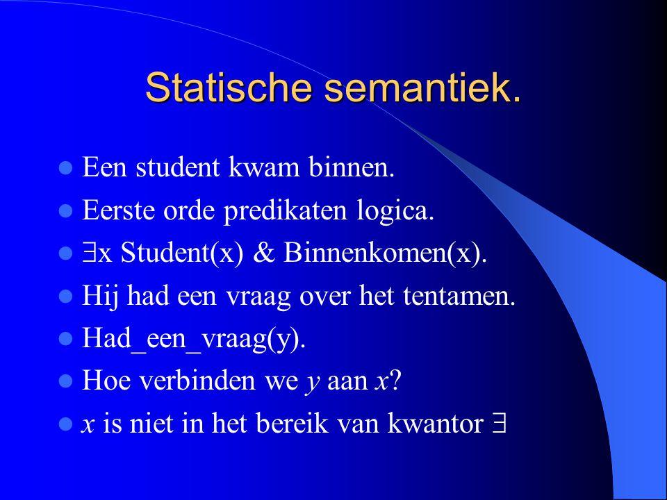 Statische semantiek. Een student kwam binnen. Eerste orde predikaten logica.  x Student(x) & Binnenkomen(x). Hij had een vraag over het tentamen. Had