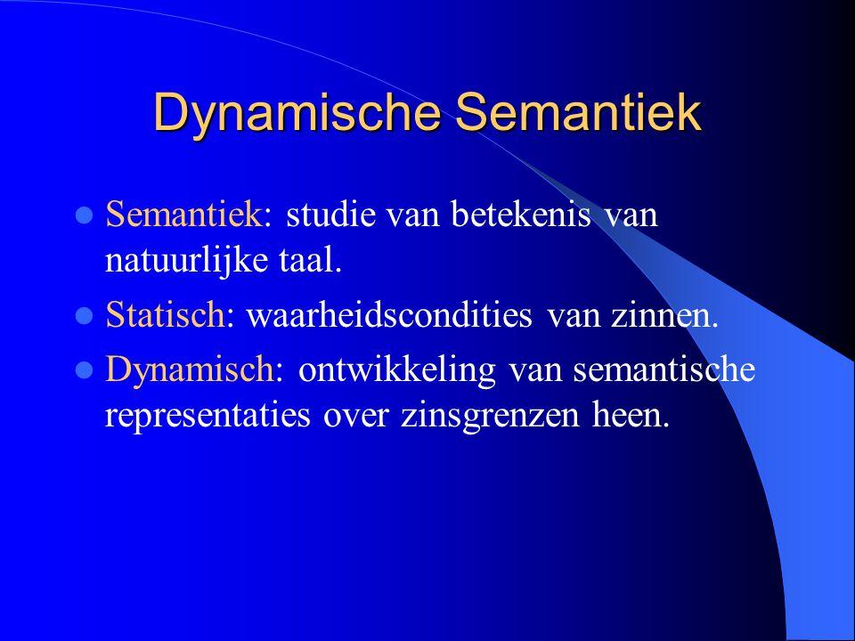 Dynamische Semantiek Semantiek: studie van betekenis van natuurlijke taal. Statisch: waarheidscondities van zinnen. Dynamisch: ontwikkeling van semant