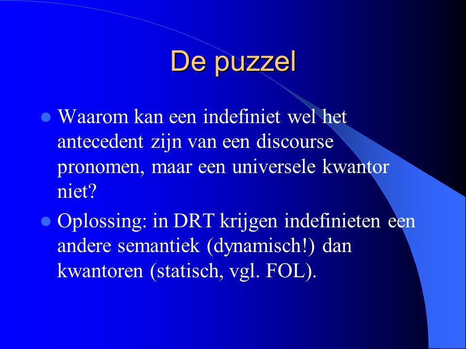 De puzzel Waarom kan een indefiniet wel het antecedent zijn van een discourse pronomen, maar een universele kwantor niet? Oplossing: in DRT krijgen in