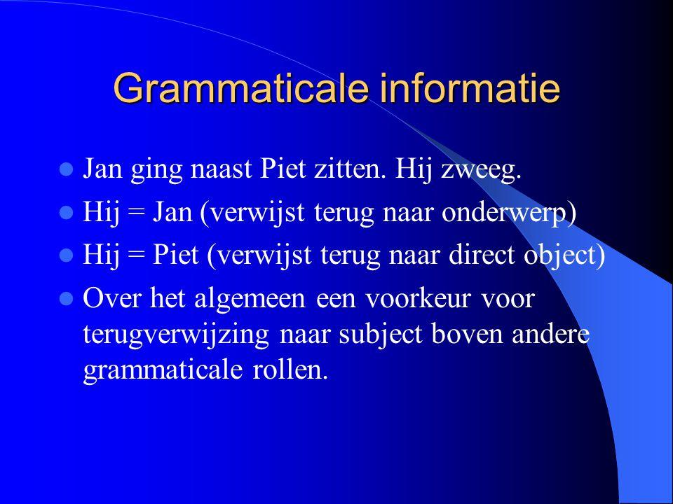 Grammaticale informatie Jan ging naast Piet zitten. Hij zweeg. Hij = Jan (verwijst terug naar onderwerp) Hij = Piet (verwijst terug naar direct object