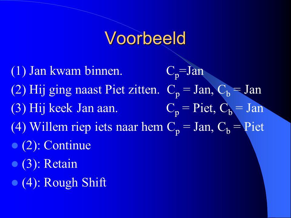 Voorbeeld (1) Jan kwam binnen. C p =Jan (2) Hij ging naast Piet zitten. C p = Jan, C b = Jan (3) Hij keek Jan aan. C p = Piet, C b = Jan (4) Willem ri