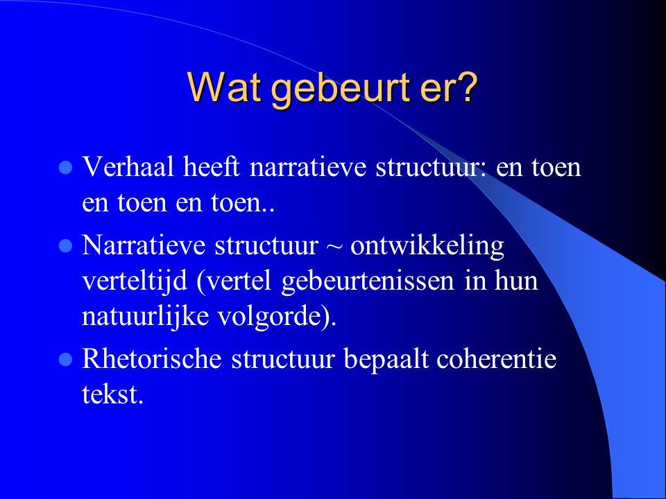 Wat gebeurt er? Verhaal heeft narratieve structuur: en toen en toen en toen.. Narratieve structuur ~ ontwikkeling verteltijd (vertel gebeurtenissen in