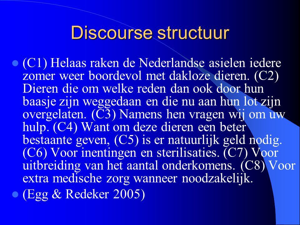 Discourse structuur (C1) Helaas raken de Nederlandse asielen iedere zomer weer boordevol met dakloze dieren. (C2) Dieren die om welke reden dan ook do