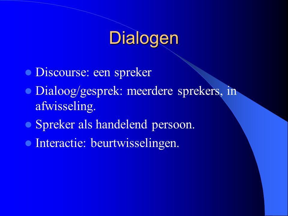 Dialogen Discourse: een spreker Dialoog/gesprek: meerdere sprekers, in afwisseling. Spreker als handelend persoon. Interactie: beurtwisselingen.