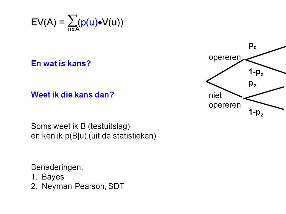 En wat is kans? Weet ik die kans dan? Soms weet ik B (testuitslag) en ken ik p(B|u) (uit de statistieken) Benaderingen: 1.Bayes 2.Neyman-Pearson, SDT