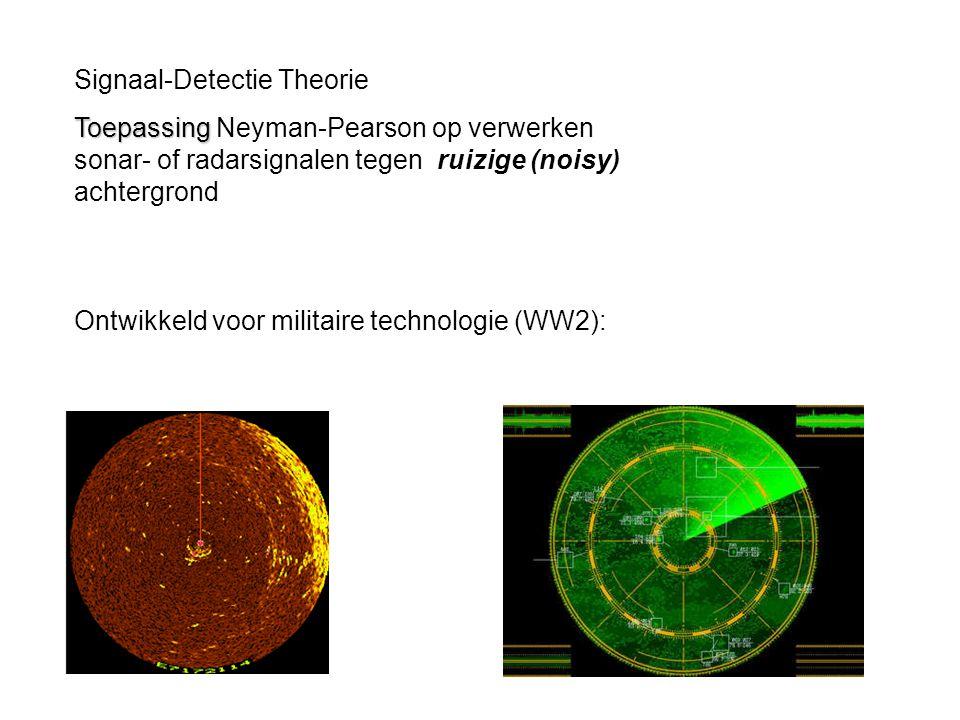 Ontwikkeld voor militaire technologie (WW2): Signaal-Detectie Theorie Toepassing Toepassing Neyman-Pearson op verwerken sonar- of radarsignalen tegen