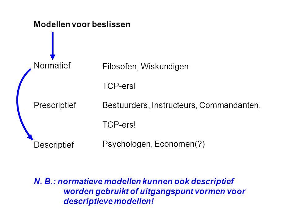 Modellen voor beslissen Normatief Prescriptief Descriptief Filosofen, Wiskundigen Bestuurders, Instructeurs, Commandanten, Psychologen, Economen(?) N.