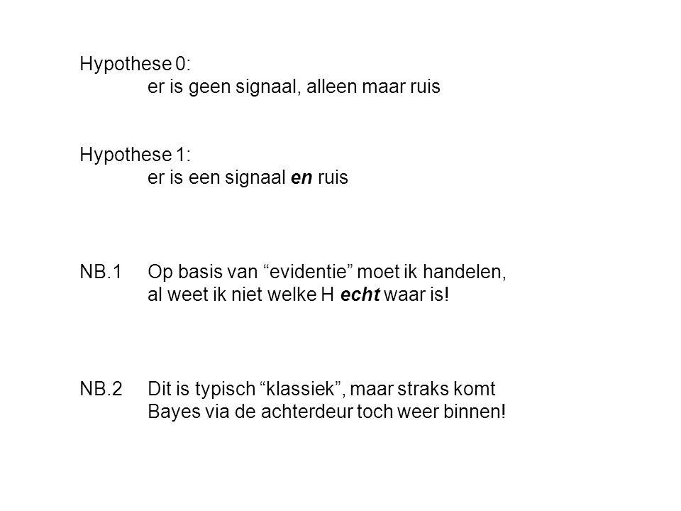"""Hypothese 0: er is geen signaal, alleen maar ruis Hypothese 1: er is een signaal en ruis NB.1 Op basis van """"evidentie"""" moet ik handelen, al weet ik ni"""