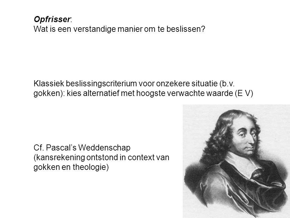 Opfrisser: Wat is een verstandige manier om te beslissen? Cf. Pascal's Weddenschap (kansrekening ontstond in context van gokken en theologie) Klassiek